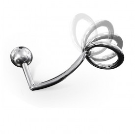 STAINLESS STEEL ASSLOCK WITH FLEXABLE COCKRING AND ANAL BALL ZE FLEX BY DARK LINE