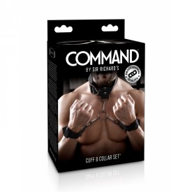 Adjustable BDSM collar and cuffs set COMMAND by Sir Richard's