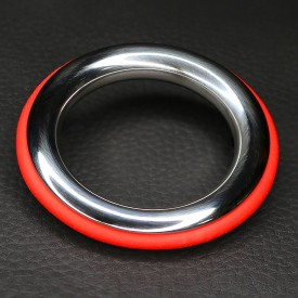 STAINLESS STEEL AND RED SILICONE COCKRING ZE COLOR BY DARK LINE